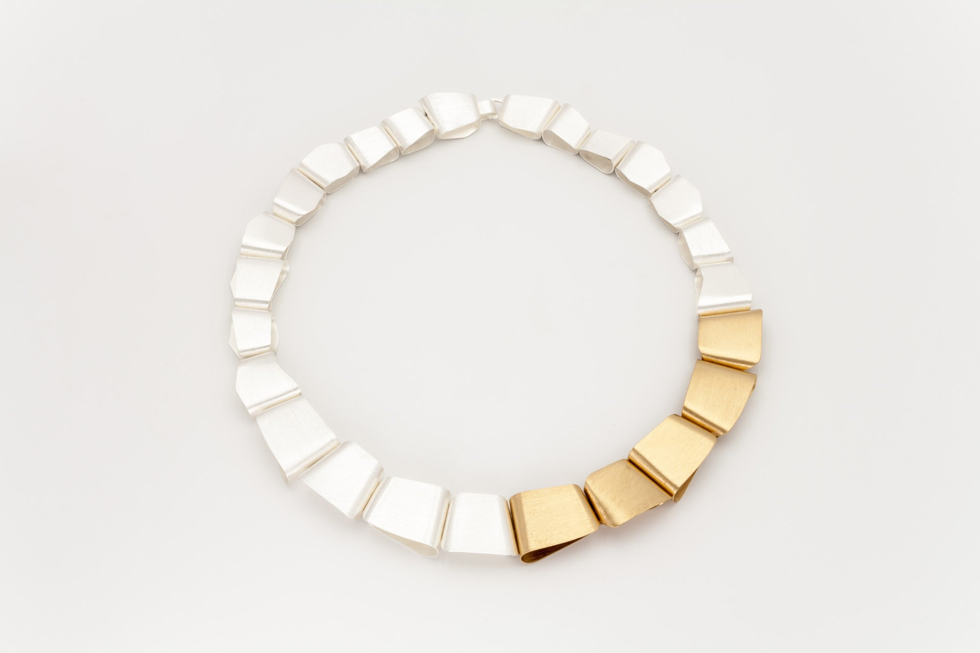 Sterling Silver and Golden Statement Necklace: Deco Echo - Magpie.Kiwi