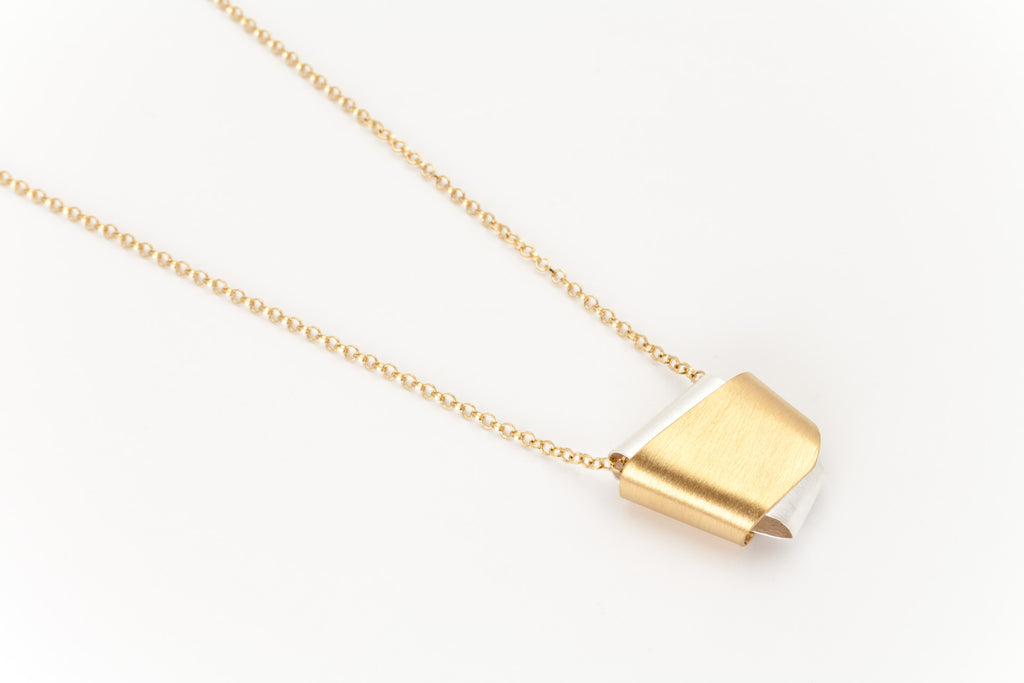 Knot Pendant Necklace, Silver and Golden: Deco Echo