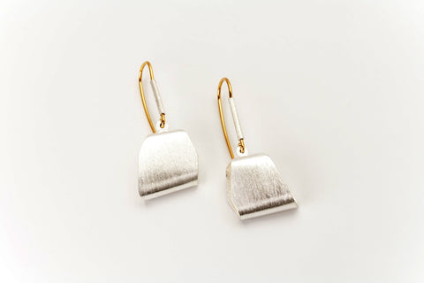 Folded Sterling Silver and Golden Drop Earrings: Deco Echo - Magpie.Kiwi