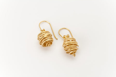Golden Spiral Drop Earrings: Deco Echo