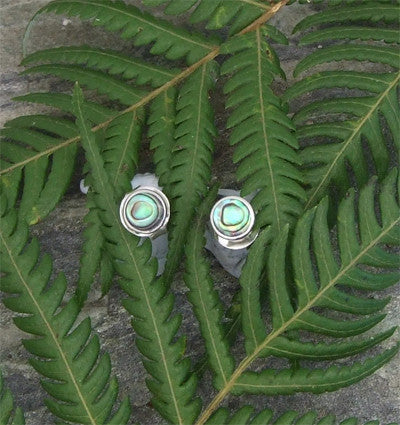 Paua Round Stud Earrings, Small