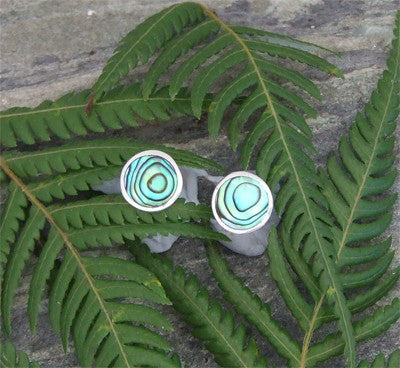 Paua Round Stud Earrings, Medium