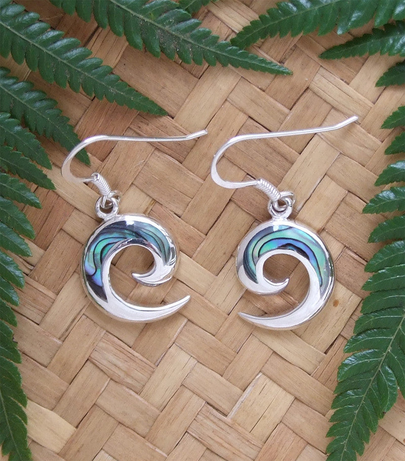 Paua Open Koru Drop Earrings