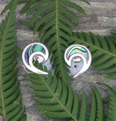 Paua Open Koru Stud Earrings