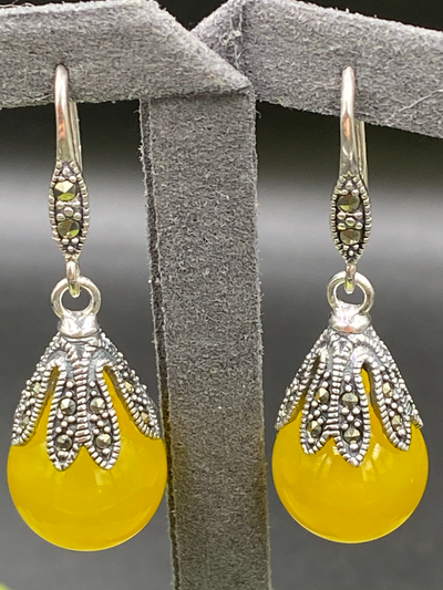Vintage Style Yellow Chalcedony Gemstone Earrings - Magpie.Kiwi