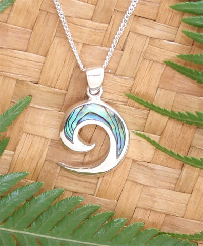 Paua Open Koru Pendant and Chain