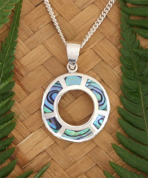 Paua Circle Pendant and Chain