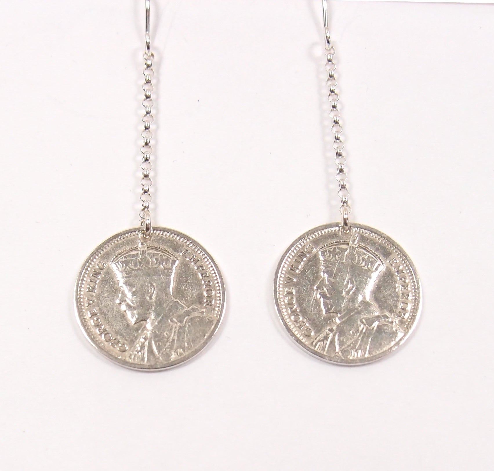 Threepenny Earrings; Drops on Chains: The Coin Collection - Magpie.Kiwi