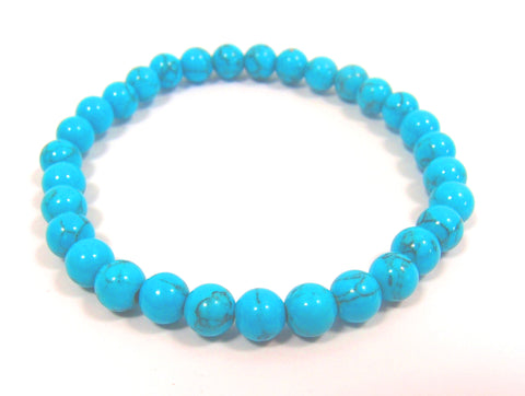 Turquoise Blue Bracelet (6mm beads): Pietra