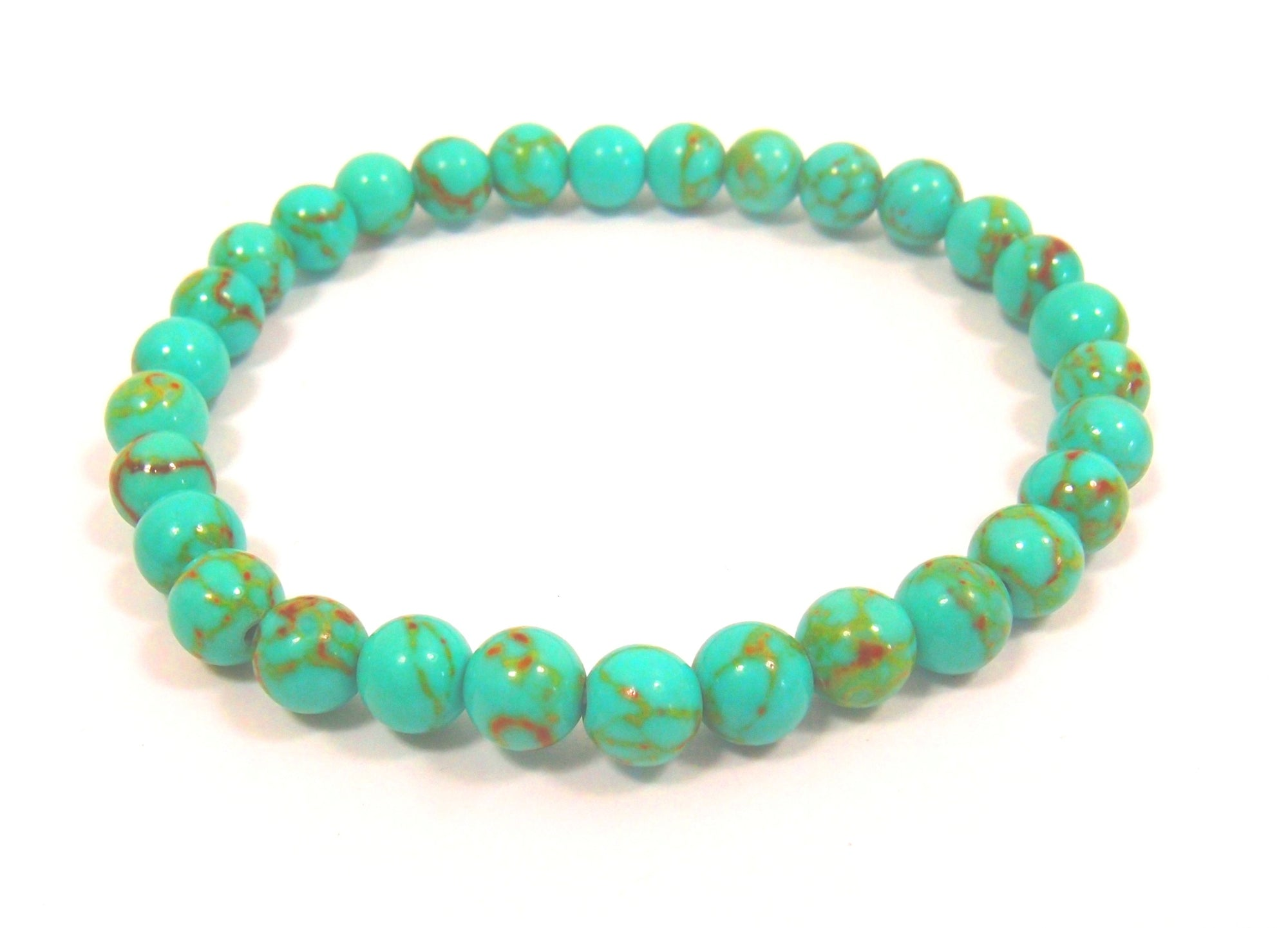 Turquoise Green Bracelet (6mm beads): Pietra