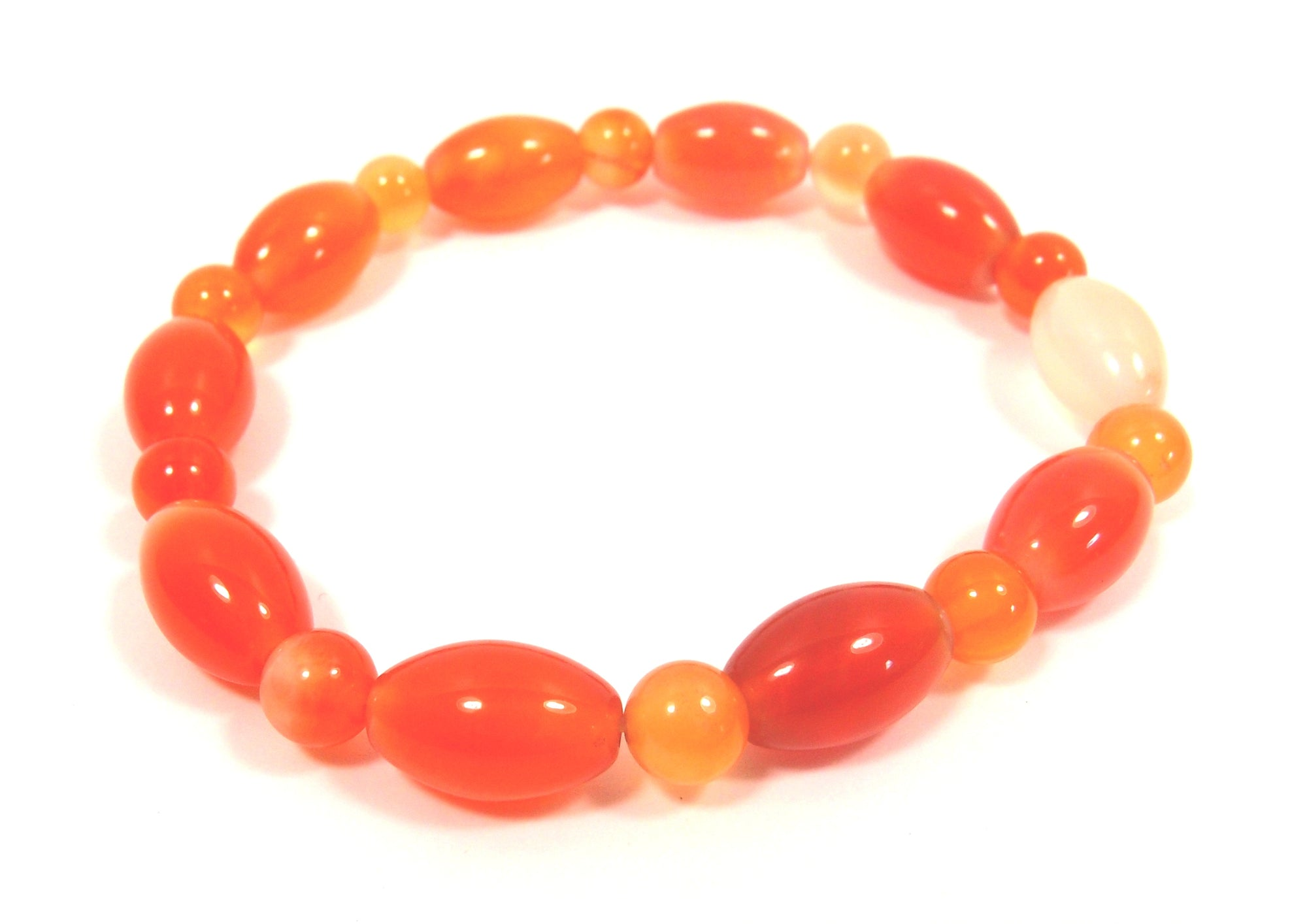 Autumn-Toned Agate Bracelet (oval mix beads): Pietra - Magpie.Kiwi