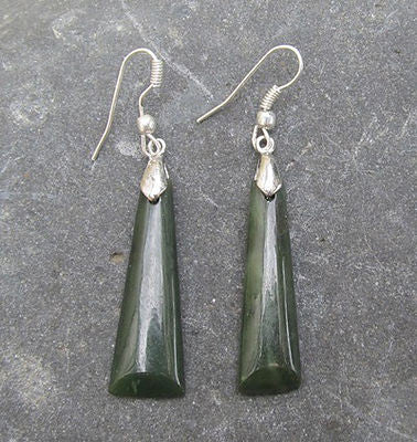 Greenstone Toki (Adze) Drop Earrings 33mm - Magpie.Kiwi