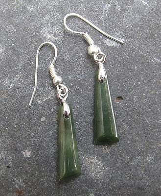 Greenstone Toki (Adze) Drop Earrings 23mm - Magpie.Kiwi