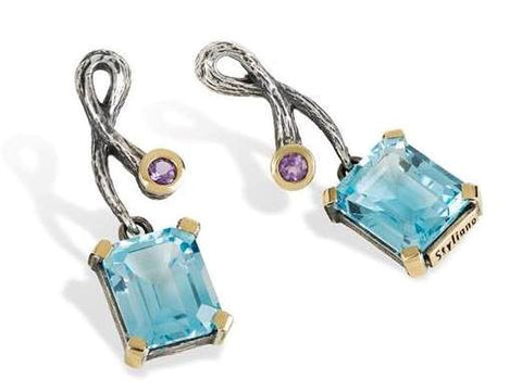 Blue Topaz, Silver and Gold Earrings: Gabriela Styliano - Magpie.Kiwi