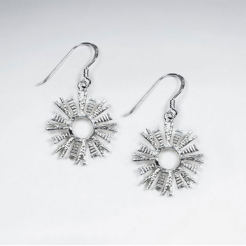 Sterling Silver Starburst Drop Earrings: Woodland Collection