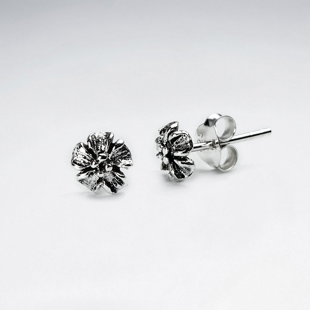 Sterling Silver Wild Cherry Blossom Stud Earrings: Woodland Collection
