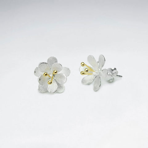 Sterling Silver Gardenia Earrings: Woodland Collection