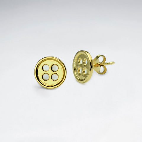 Golden Emilie Button Ear Studs: Solveig's Silver