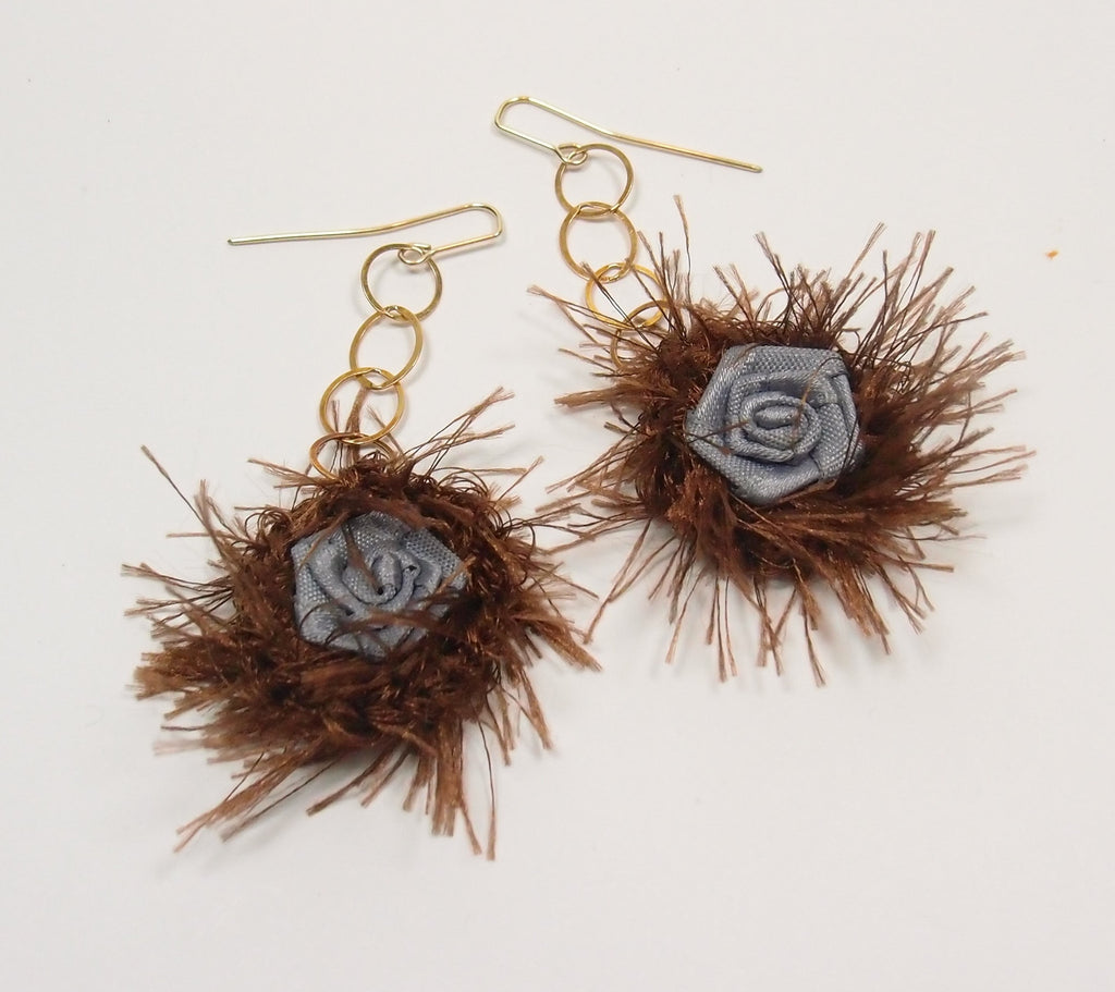 Fuzzy Rose Drop Earrings: Whimsical Objects - Magpie.Kiwi