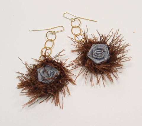 Fuzzy Rose Drop Earrings: Pre-Adored