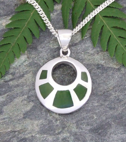 Greenstone (Pounamu) Circular Silver Pendant and Chain