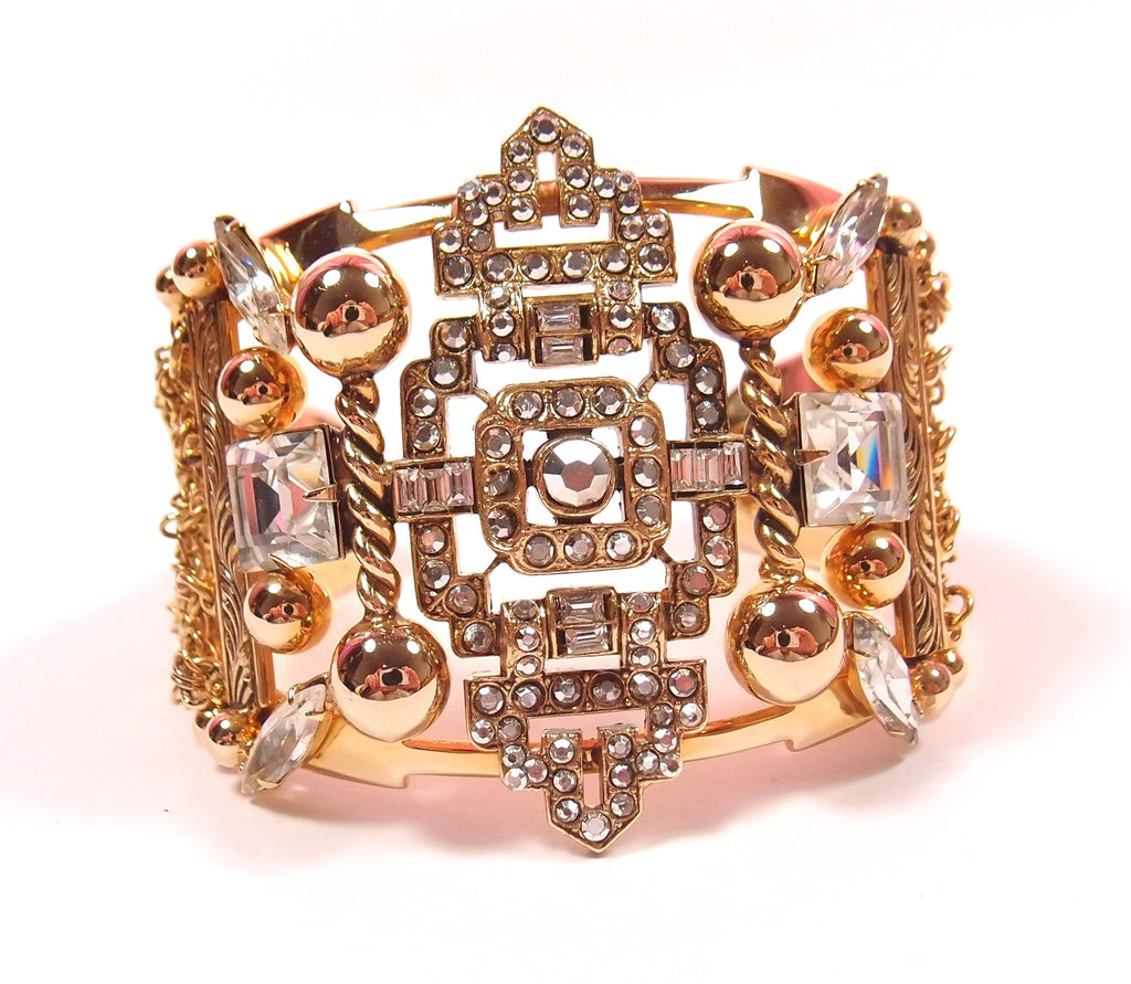 Golden Cocktail Cuff with Crystals: Pre-Adored