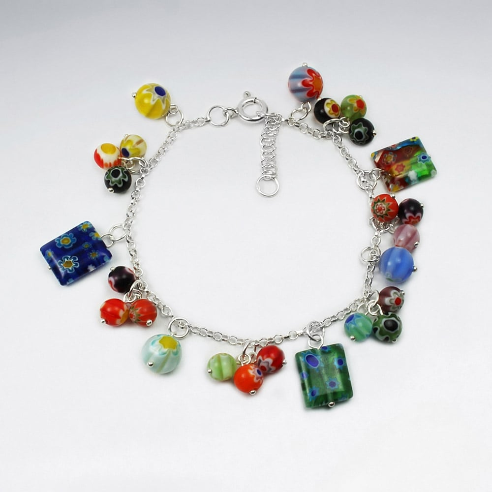 Rainbow Glass and Sterling Silver Charm Bracelet: Pietra - Magpie.Kiwi