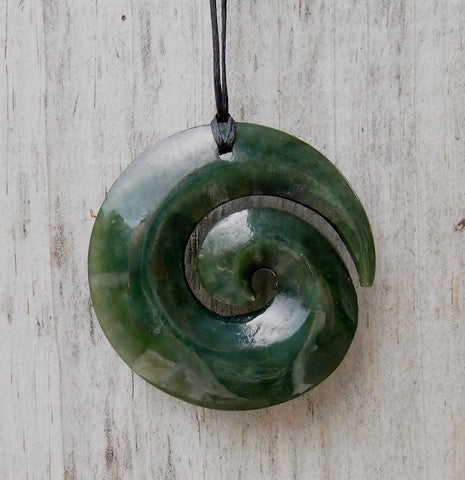 Greenstone (Pounamu) Koru Pendant 40mm