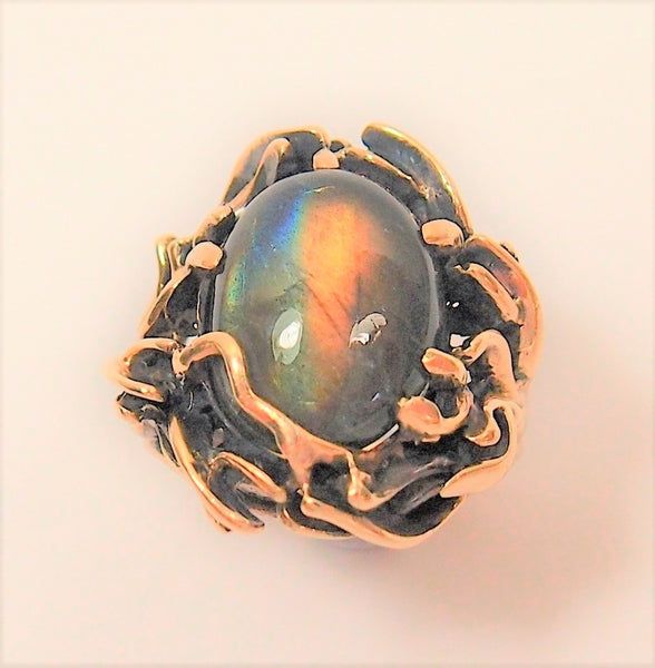 Vintage 1970s 9k Rose Gold Ring with Labradorite: Pre-Adored