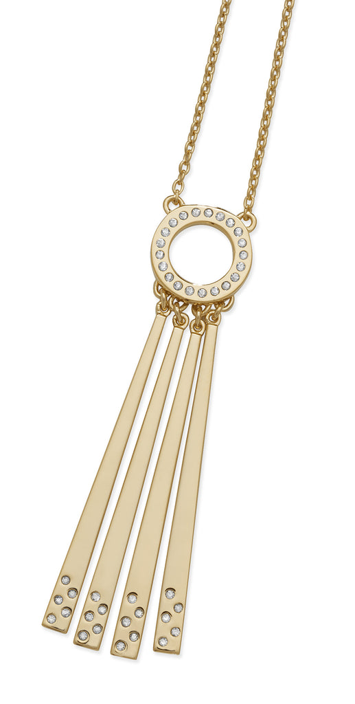 LucyQ Art Deco 4 Drop 18k Yellow Gold Vermeil Pendant with Chain