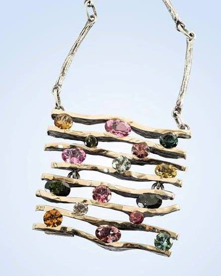 Tourmaline, Silver and Gold Necklace: Gabriela Styliano - Magpie.Kiwi