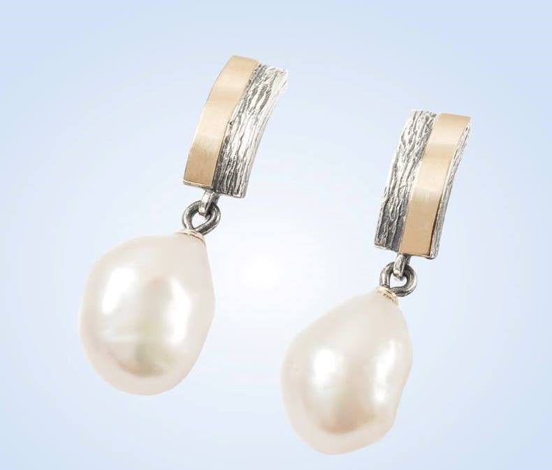 Pearl, Silver and Gold Earrings: Gabriela Styliano - Magpie.Kiwi