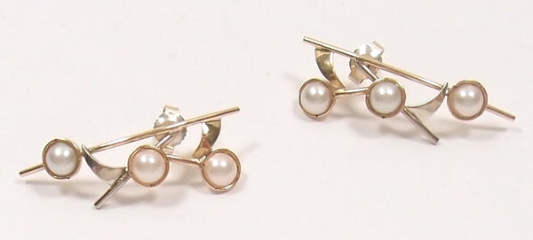 Pearl Earrings in Silver and Rose Gold: Pre-Adored - Magpie.Kiwi