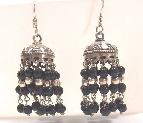 Sterling Silver and Onyx Drop Earrings: Pre-Adored