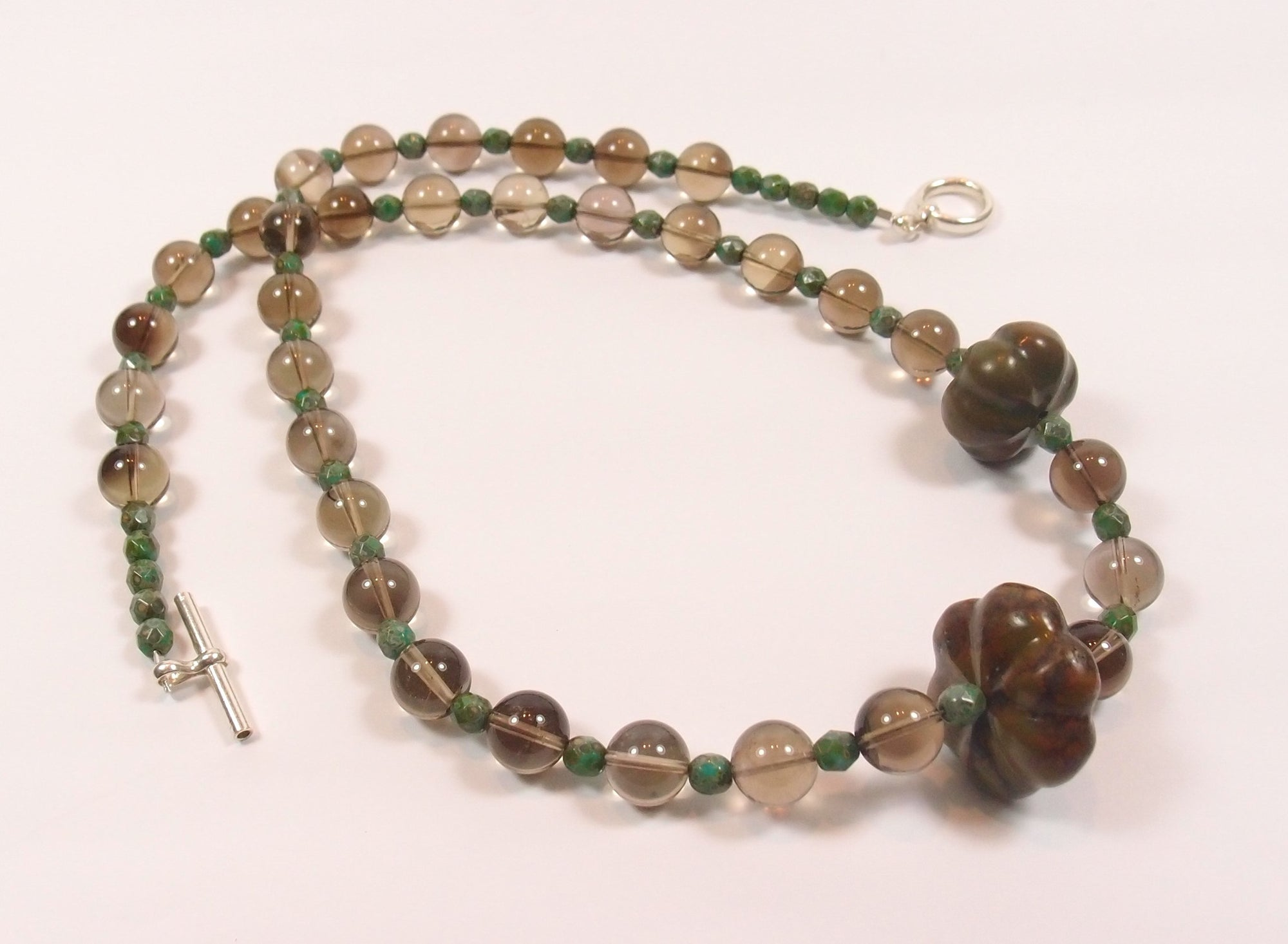 Smokey Quartz and Glass Necklace with Chinese Turquoise: Pietra