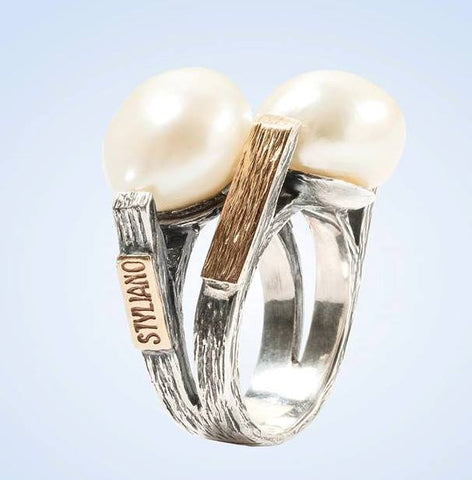 Pearl, Silver and Gold Ring: Gabriela Styliano - Magpie.Kiwi