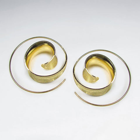 Golden Viveka Spiral Hoop Earrings: Solveig's Silver