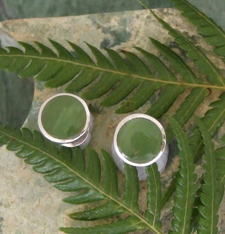 Greenstone (Pounamu) Round Stud Earrings in Silver