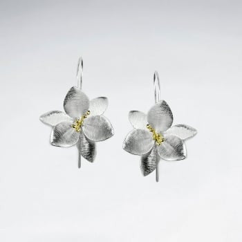 Silver Clematis Drop Earrings: Woodland Collection