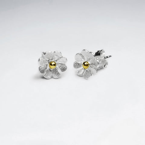 Silver Mini Dahlia Stud Earrings: Woodland Collection