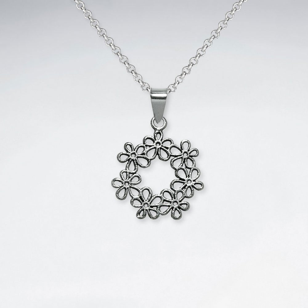 Sterling Silver Flower Wreath Pendant and Chain: Woodland Collection
