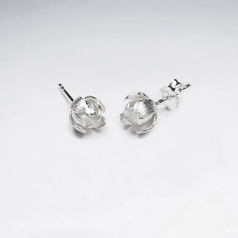 Silver Flower Blossom Stud Earrings: Woodland Collection