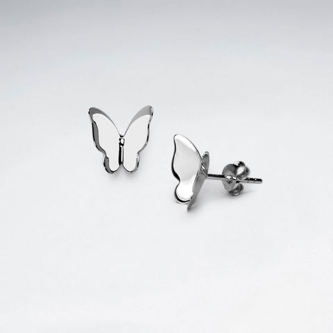 Silver Butterfly Stud Earrings: Woodland Collection