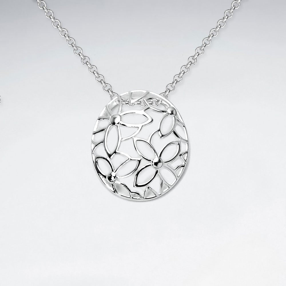 Silver Flora Pendant and Chain: Woodland Collection