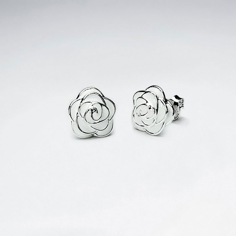 Sterling Silver White Rose Ear Studs: Woodland Collection