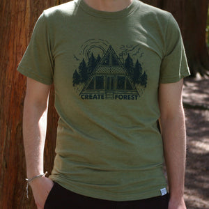 Forest Cabin Tee - Heather Army Green