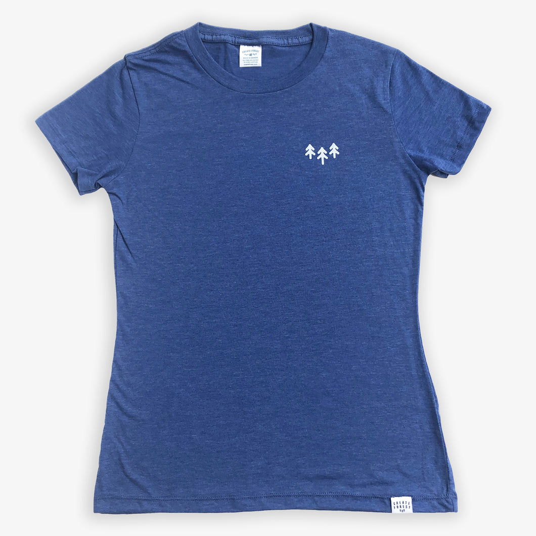 Pocket Trees Tee - Women - Heather Navy