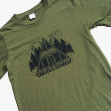 Load image into Gallery viewer, Forest Cabin Tee - Heather Army Green