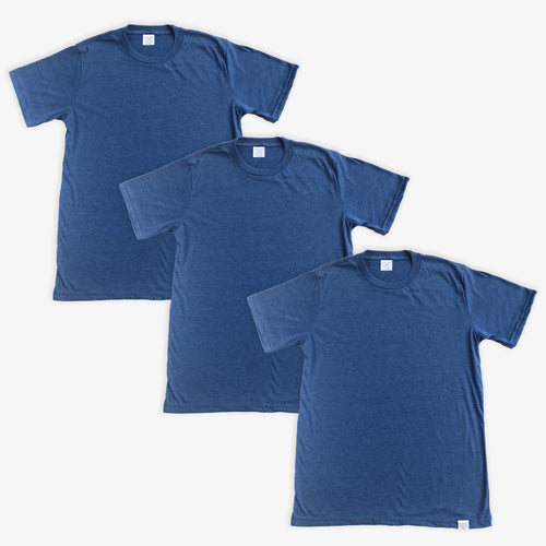 Essential Tee - Unisex - Heather Navy (3 Pack)