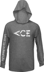 Ace Vintage White Logo UV Protection / UPF 50+ Performance Youth Hoodie, Featuring Level Up In Real Life On The Sleeve